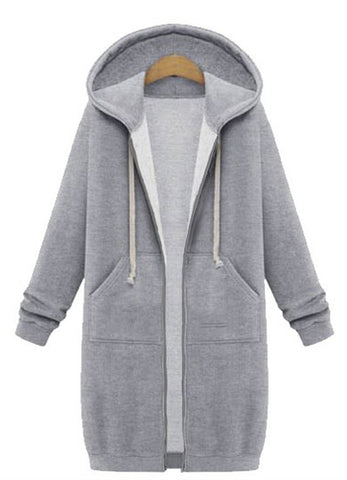 Casual Women Long Sleeve Zipper Hooded Pocket Coat