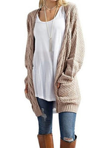 bf2ff08ad6c9 Knitt Mid-Length Casual Pocket Long Sleeve Cardigan - kattystory