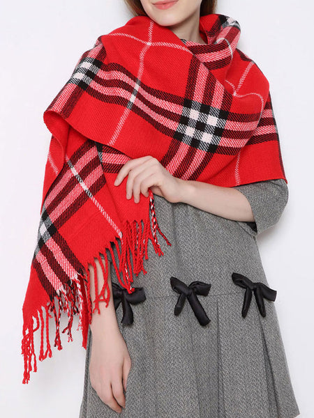 Plaid Knitted Pockets Fringed Scarf - kattystory