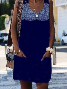 Navy Blue Crew Neck Appliqued Sexy Dress