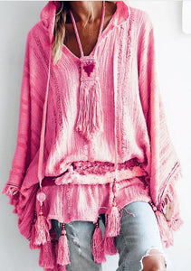Hoodie Casual Cotton-Blend Solid Blouse