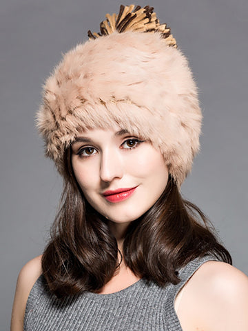 Faux Fur  Double-layer Warm Knit Hat