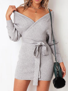 Casual Balloon Sleeve Sweater Dress