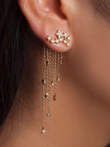 Womens Twinkle Star Tassel Pendant Earrings - kattystory
