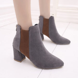 Elegant Three Paneled Color Pointed Toe Women Boots