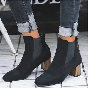 Elegant Hot Chunky Heel Ankle Women's Boots
