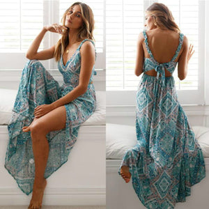 Women Sexy Backless Dress 2019 Summer Bohemian Floral Print Long Dresses Femal v Neck Vestidos Plus Size Lady Casual Clothes