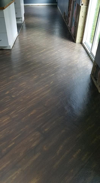 Flooring: Dark over Golden Pine with Briarsmoke and Golden Oak Wood Stain.