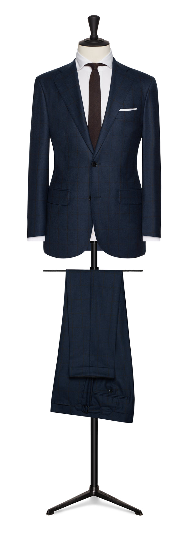 Blue Red Windowpane Suit