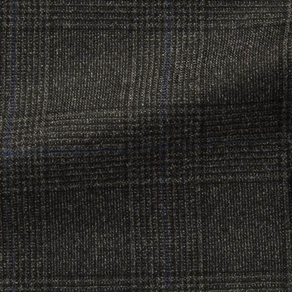 Loro Piana Dark Grey and Blue Glencheck Flannel Suit
