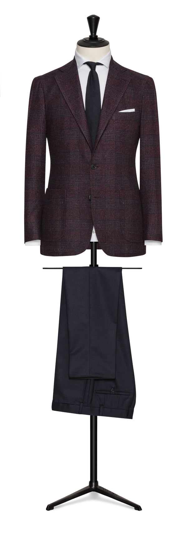 Burgundy Check Wool Cotton Blend Sport Coat