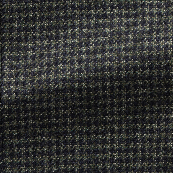 Loro Piana Green Houndstooth Wool Silk Sport Coat