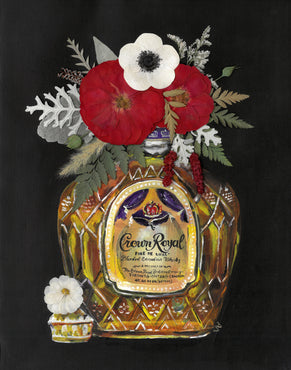 Bottles & Blooms - Crown Royal Print