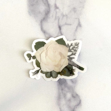 White Rose Floral Sticker