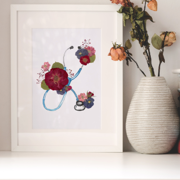 Floral Stethoscope Print
