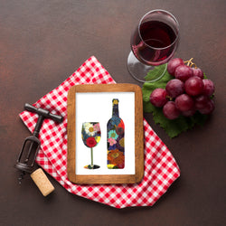 Wine & Wine Bottle Print