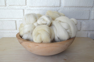 Natural White Wool Roving - 8oz