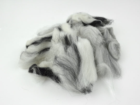Wool Fiber Black, Gray and White