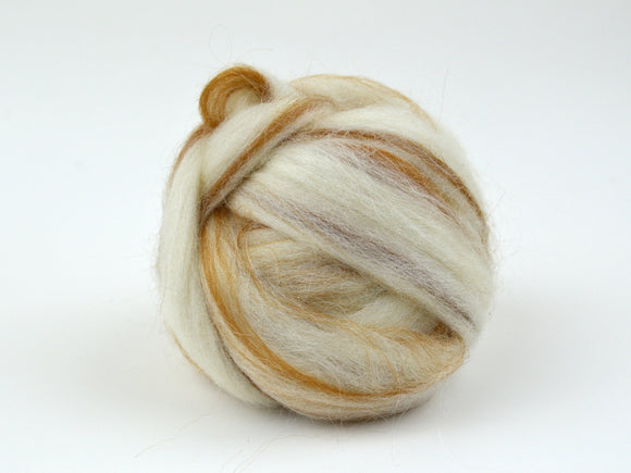 Golden Brown and White Striped Wool Roving