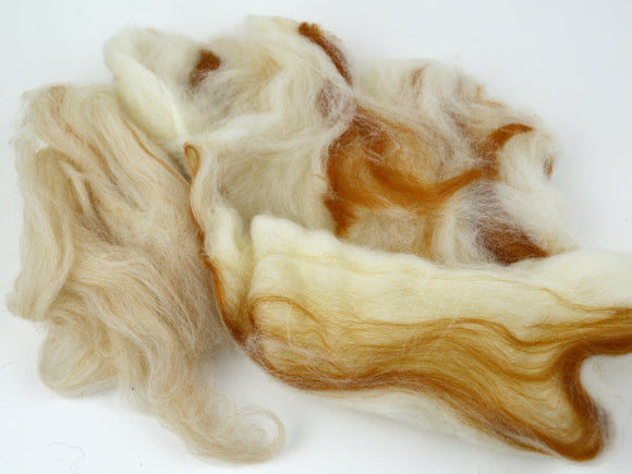 Wool Felting Fiber Tan and White