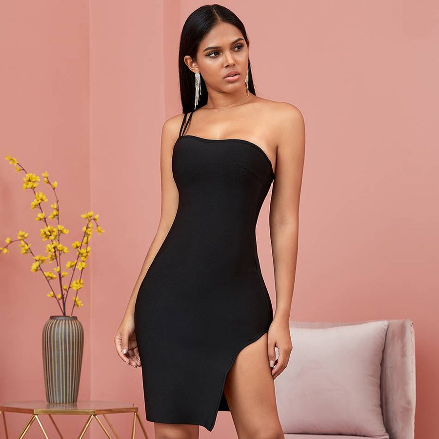 Ritzy Black One Shoulder Bodycon Mini Dress - Couture Look