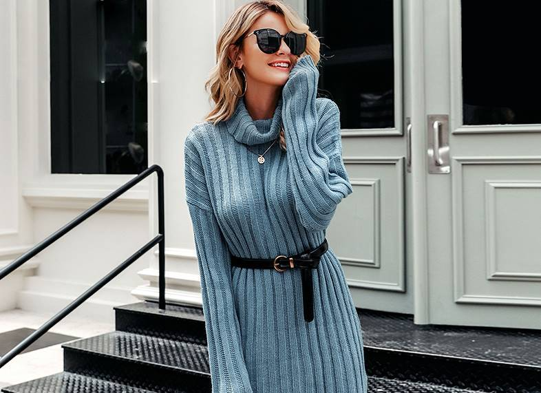 Mikaela Turtle Neck Sweater Dress - Couture Look