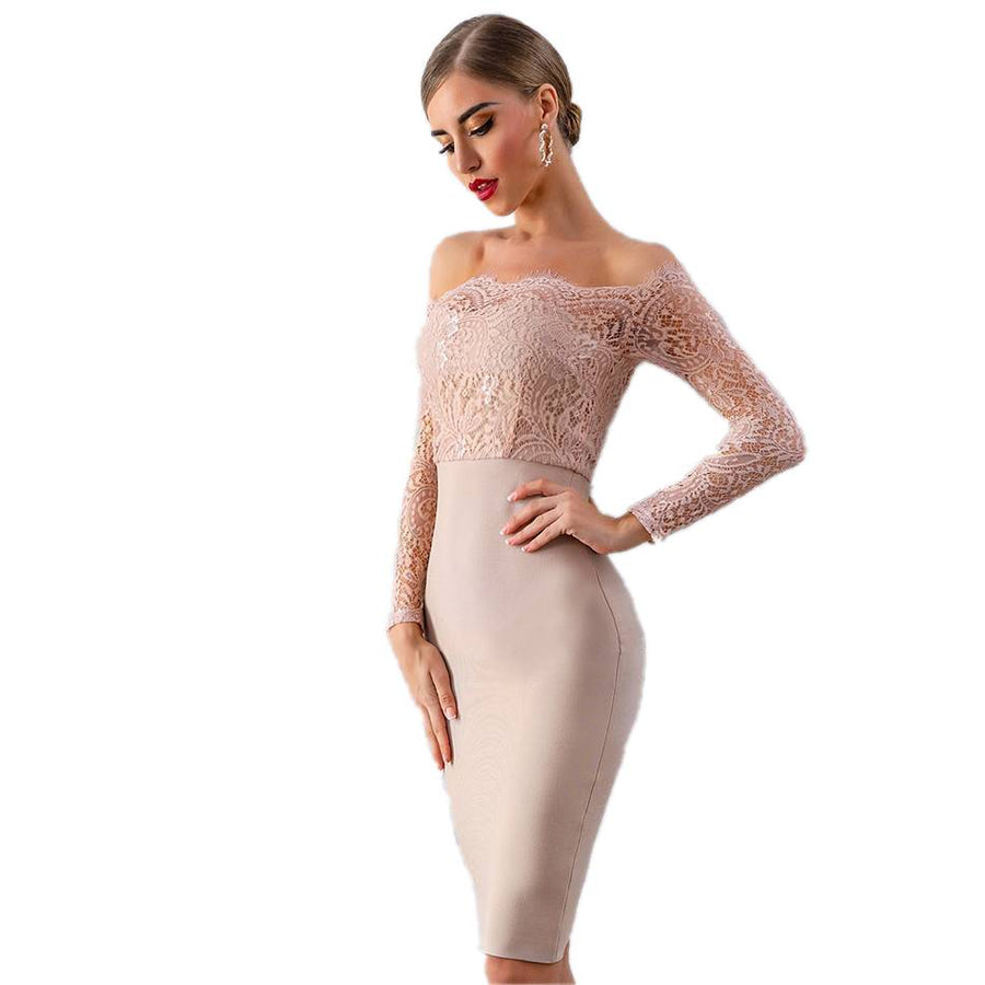 Darling Of The Crowd Lace Bodycon Long Sleeve Dress