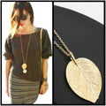 Sassy Girl Gold-Tone Leaf Pendant Long Chain Necklace - Couture Look