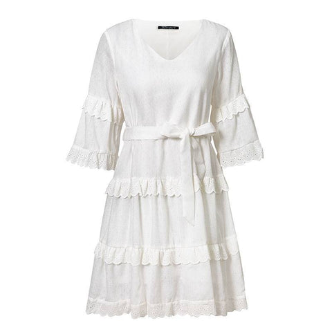 Bodacious Bobbie Girl White Embroidered Summer Dress - Couture Look
