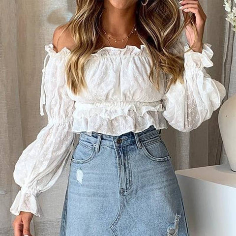 Macarena Moment White Embroidery Women Crop Top - Couture Look