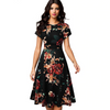 In Love for Elegant Floral Print Flare Swing Dress