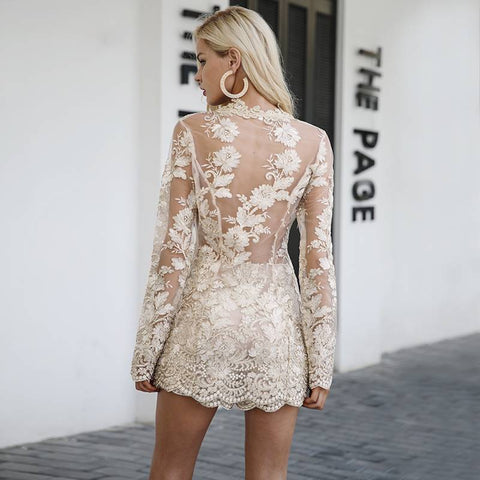 Sexy Vintage Long Sleeve Gold Sequin Lace Romper - Couture Look