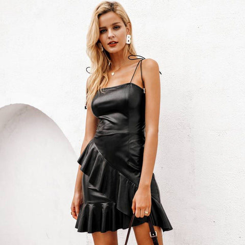 Funky Bella Black Leather Bodycon - Couture Look