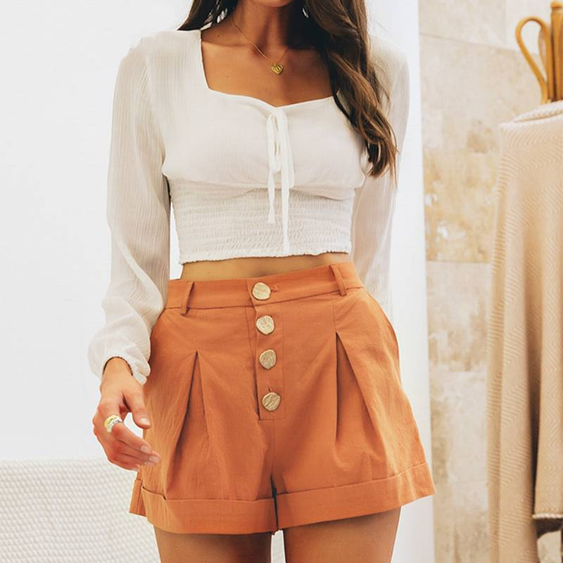Casual Button Solid Cotton High Waist Shorts - Couture Look