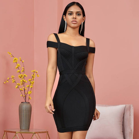 Image of Flirtatious Off-Shoulder Bandage Bodycon Dress