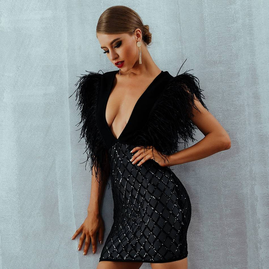 Slender Fantasy Black Deep V-Neck Party Dress - Couture Look