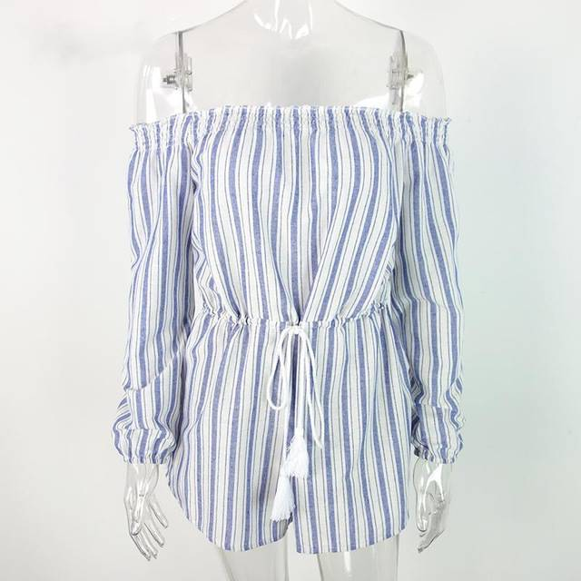 Blue Striped Of Sexiness Off Shoulder Romper - Couture Look