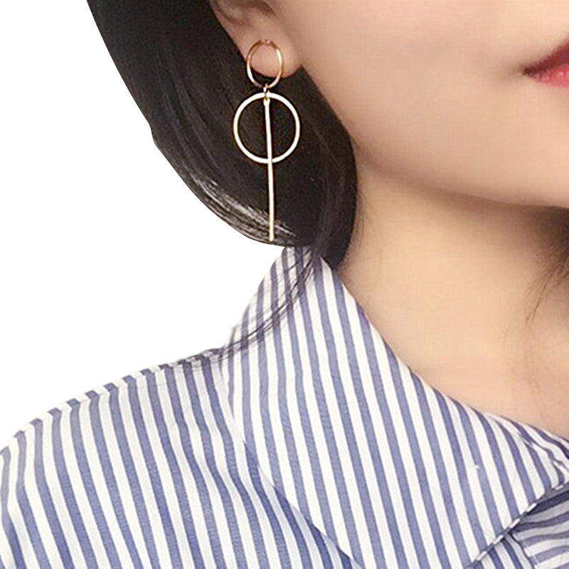 Miss Cool Gold Dangling Double-Hoop Earrings