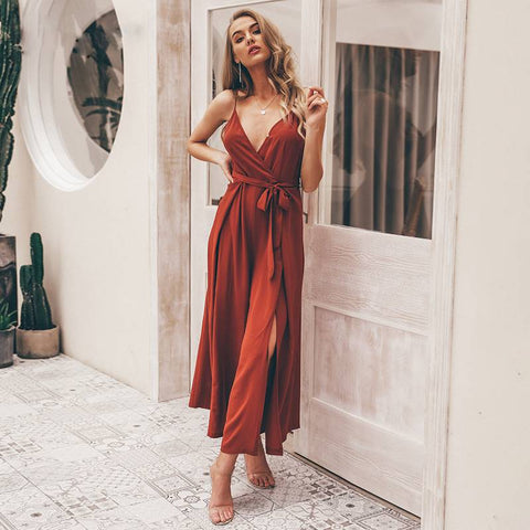 Sensational Lindsey Red Jumpsuit - Couture Look
