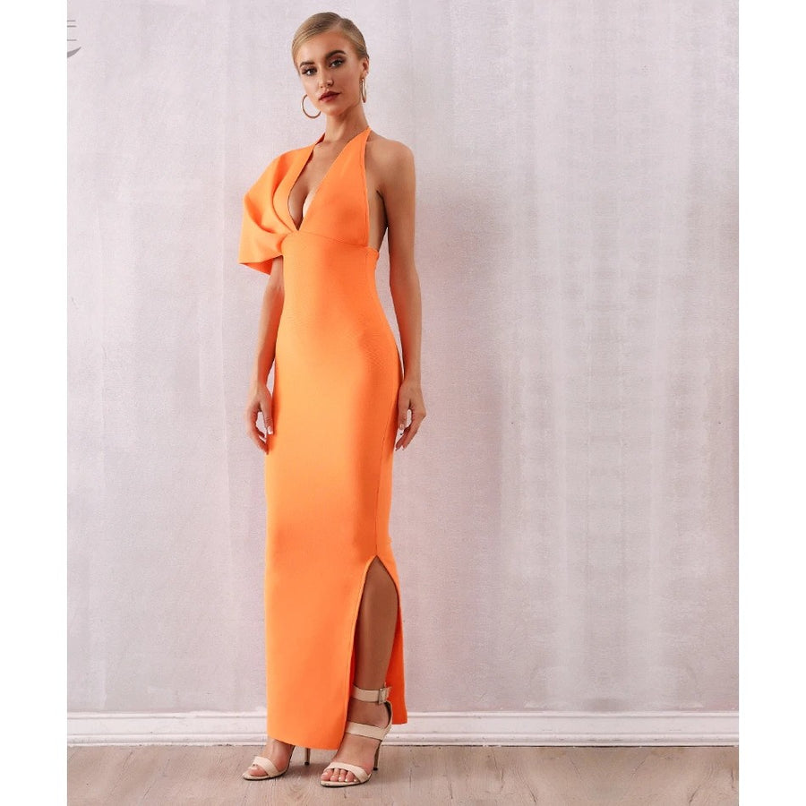 Brighter One Shoulder Maxi Dress Orange - Couture Look