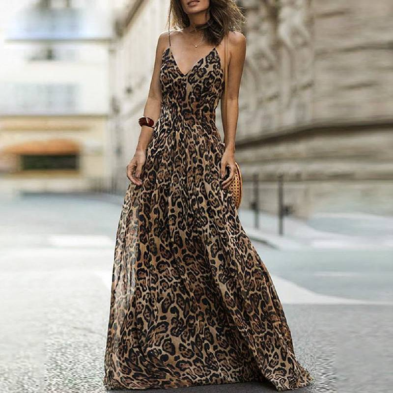 Winterfell Leopard Print Chiffon Maxi Dress with Spaghetti Strap - Couture Look