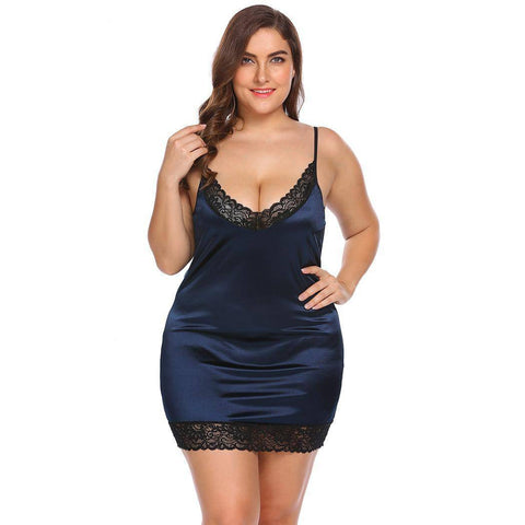 Plus Size  Lace Stretchy Satin Nightgown - Couture Look