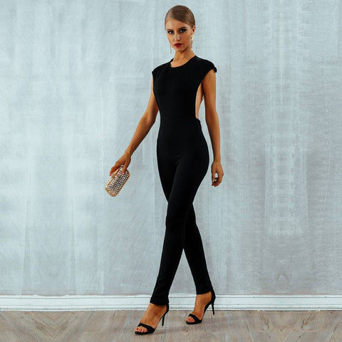 Elegant  Sexy Pearl Chain Backless Jumpsuit