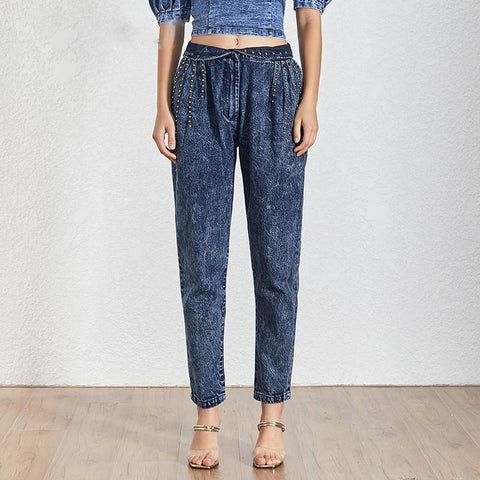 Image of Irie Rivet High Waist Blue Denim Jeans - Couture Look