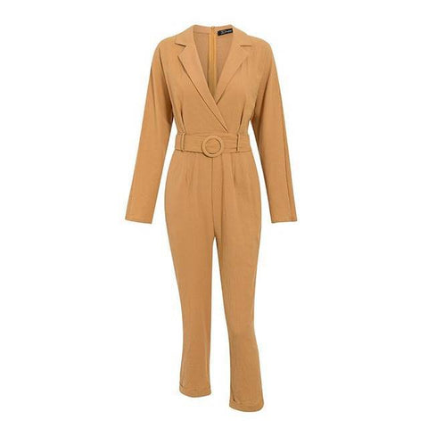 Brunette Bed of Roses Sash Belt Long Sleeve Jumpsuits - Couture Look