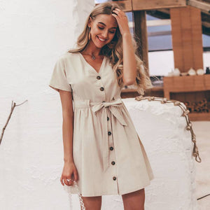 70s Chic Buttoned Dress Shirt V-neck Summer Dress