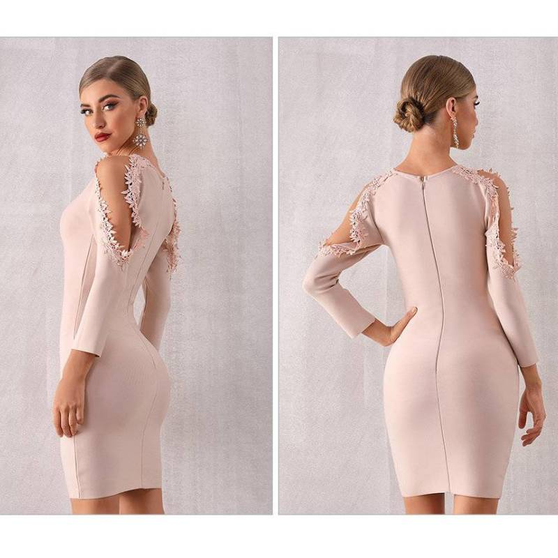 Flower Lace Mini Bodycon Dress - Couture Look