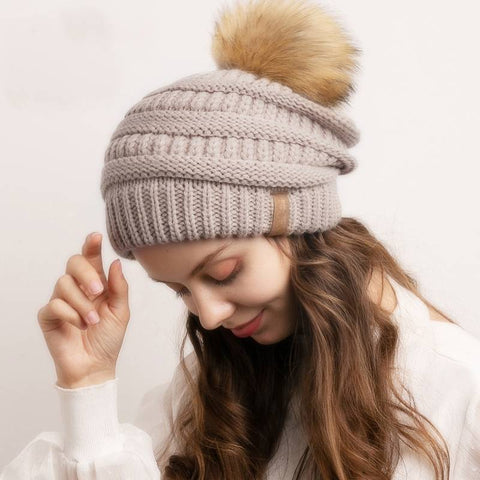 Chill Cozy Knitted Pompom Slouchy Beanie Hat - Couture Look