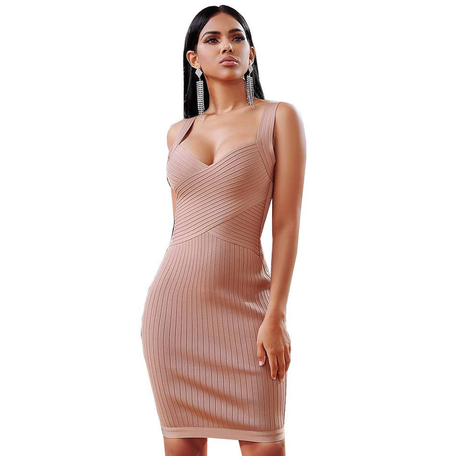 Hush Lovey Brown Bodycon Party Dress - Couture Look
