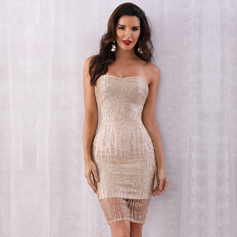 Sweetheart Adi Sequined Apricot Party Dress - Couture Look